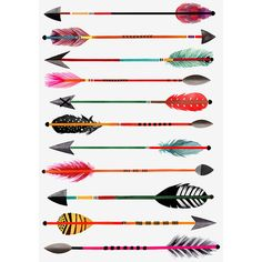 Margaret Berg Art : Illustration : novelty / miscellaneous ❤ liked on Polyvore featuring home, home decor, wall art, arrow, feather, arrow home decor, feather illustration and arrow wall art