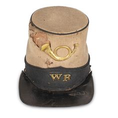 Confederate Captain's Shako  This woolen shako, a tall, cylindrically shaped…