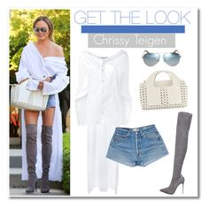 """""""Celeb Style: Chrissy Teigen"""" by zhris ❤ liked on Polyvore featuring Esteban Cortazar, Le Silla and Victoria Beckham"""