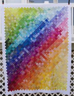 Rainbow colors quilt -- From the blue chair blog