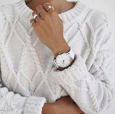 Jacquard Knit Jumper in White