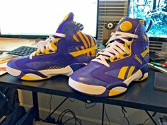 be0b94ecbd0 SHAQ Shaquille O Neal LSU Yellow PURPLE sneaker basketball Reebok 9.5 The  Pump