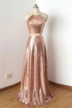 Two Pieces Prom Dresses #TwoPiecesPromDresses, A-Line Prom Dresses #ALinePromDresses, Prom Dresses Long #PromDressesLong, Cheap Prom Dresses #CheapPromDresses
