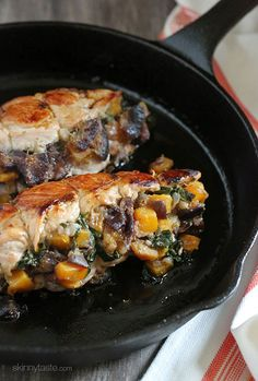 Roasted turkey breasts stuffed with butternut squash, spinach and figs