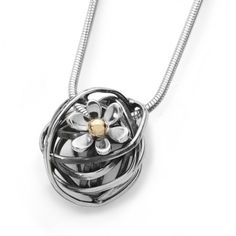 Scribbles - Oxidised silver and 9ct gold Necklace from Linda Macdonald Jewellery