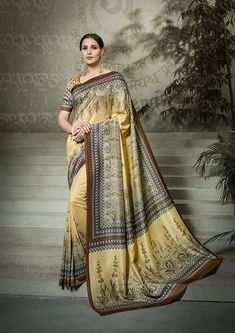Pale Yellow Tussar silk saree with pale yellow Tussar silk blouse embellished with digital print. Saree with Round Neck, Half Sleeve. It comes with unstitch blouse, it can be stitched to 32 to 58 sizes. Tussar Silk Saree, Art Silk Sarees, Traditional Sarees, Traditional Looks, Ethnic Sarees, Trendy Sarees, Casual Saree, Designer Sarees Online, Printed Sarees