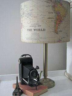 Vintage camera and Cavallini Lamp! DIY
