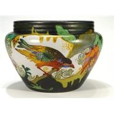 Large Gouda pottery jardiniere, hand painted