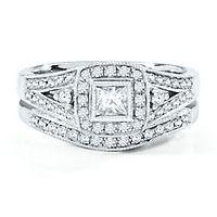 3/4 ct. tw. Diamond Halo Engagement Ring Set in 14K White Gold