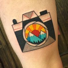 Winston the Whale - Camera with mountain scene tattoo @winstonthewhale