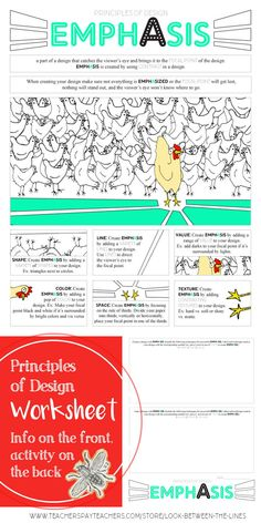 Principles of Design, Emphasis, Worksheet: Middle and High School Art Activity : I use my principles of design worksheets every year in my Introduction to Art class. This printable worksheet covers the principle of design, emphasis. Visual Art Lessons, Art Education Lessons, Visual Arts, High School Activities, Art Activities, High School Art, Middle School Art, Elements Of Art Space, Design Elements