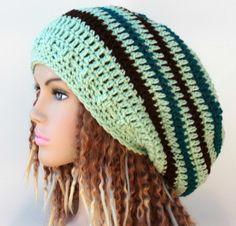 Honey Dew green teal brown stripes Long Dread Tam Hippie Slouchy Beanie Tam Hat