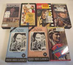 7 VHS John Wayne Videos War Action Adventure Gold Rush Classics Movies NTSC LOT