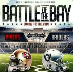 Battle of the Bay it's goin down I'm trynna be in that thang reppin my NINERS baby! Sf Forty Niners, Its Goin Down, Oakland Raiders Football, Raiders Baby, Watch Football, Just A Game, Raider Nation, Nfl Fans, San Francisco Giants