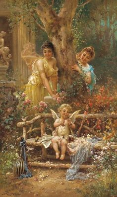 Hans Zatzka oil painting reproductions for sale, create oil paintings from your images, fine art by oil on canvas.(Hans Zatzka [Austria, 1859 - - page 2 Renaissance Paintings, Renaissance Art, Guardian Angel Images, Portrait Pictures, Painted Cottage, Mermaids And Mermen, Oil Painting Reproductions, Angel Art, Beautiful Paintings