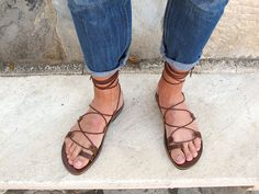 Sandalias de Gladiador de los hombres. por GreekChicHandmades