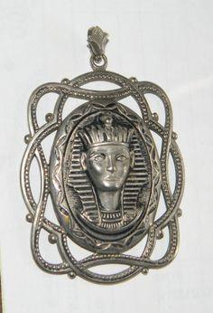 Large Vintage Art Deco Egyptian Revival Silver Filigree Queen Nefertiti Pendant   eBay