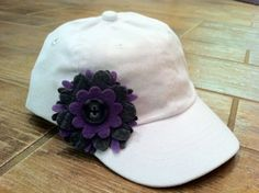 Cute Toddler Baseball cap with Felt Flower Accent @Tara Metteauer - reuse the flowers you made for her headbands!