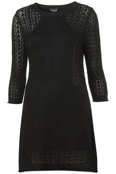Black Knitted A-Line Pointelle Dress