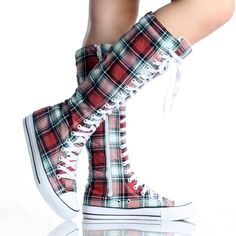 Red Plaid Canvas Skate Lace Up Punk Sneaker Womens Knee High Boots