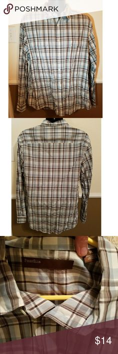 BOGO Perry Ellis plaid XL men's shirt button down This is a nice men's plaid XL button down shirt by Perry Ellis. The colors are light blue, brown and white. Excellent used condition. This is my husband's, and he takes meticulous care of his clothing. Perry Ellis Shirts Casual Button Down Shirts
