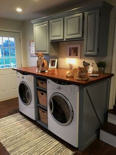 40 Modern Basement Remodel Laundry Room Ideas Traditionally, washers and dryers were located in the basement. This is a little like storing garden tools in the attic. Laundry Room Remodel, Laundry Room Cabinets, Laundry Room Organization, Laundry Room Design, Diy Cabinets, Laundry Closet, Laundry Organizer, Organizing, Laundry Shelves