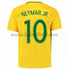 Billige Fodboldtrøjer Brasilien 2016 Landsholdstrøjer Neymar JR 10 Kortærmet Hjemmebanetrøje