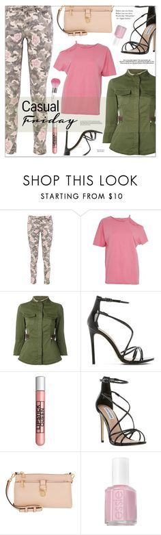 """""""Casual Friday"""" by joliedy ❤ liked on Polyvore featuring Boohoo, River Island, Bazar Deluxe, Steve Madden, Lipstick Queen, Guerlain, Triumph, Warren-Tricomi and Essie"""
