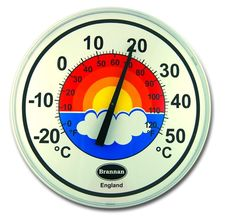 300mm patio dial garden thermometer with attractive rainbow design. This easy to hang outdoor thermometer measures temperatures between -20 and +50°C&F