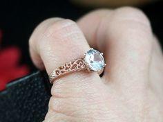Moissanite & Diamond Engagement ring 14k White by AlexisHolly