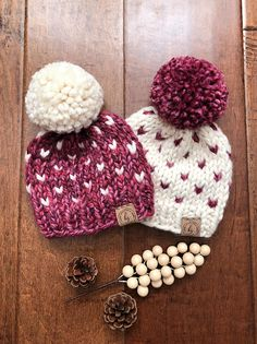 19934b08014 This listing is for a SET OF 2 coordinating NEWBORN twin baby hats with  large pom poms! -Custom made according to your choice of 2 Colors  Enlarge  the last ...