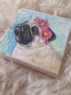 Mini pug art pug painting pug artwork mini canvas by ThePastelPug