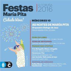 La Orquesta Galega de Jazz inaugura los conciertos de esta semana de «As noites de María Pita», que contarán con Loquillo (jueves 11), Nouvelle Vague (viernes 12), Carlos Baute (sábado 13) y UTE LEMPER (domingo 14)   Toda a programación de #MaríaPita16, en www.coruna.es