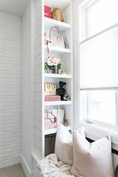 Before we kick off the new home posts, I wanted to share my closet space for the last year and several months at my parents home. I converted an empty bedroom into a closet using Ikea closet storage furniture. Smart Closet, Bag Closet, Closet Space, Ikea Closet Storage, Closet Organization, Storage Spaces, Bag Display, Closet Designs, My New Room