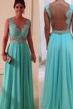 Illusion V-neck Turquoise Prom Dresses A-line Beaded Waist Sexy Low Cut Backless Party Dress CS095