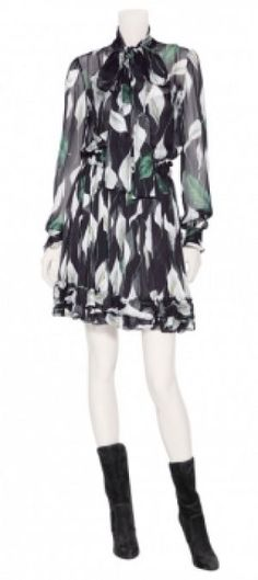 Dolce & Gabbana - Black Flower Printed Silk Dress