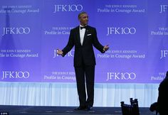 president Barach Obama accepted the JFK Profile in Courage Award in front of the Ke...