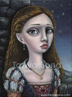Lady GWENDOLYN - ORIGINAL oil painting - surreal pop fantasy art - Medieval dress costume - lowbrow art portrait by Tanya Bond - great, whimsical work.