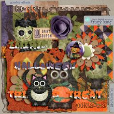 Atelier Tracy K.: Digital Scrapbooking Freebie - Zombie Attack Mini (for real this time) Zombie Attack, Digital Scrapbooking Freebies, Digital Backgrounds, Journal Cards, Overlays, Clip Art, Halloween, Mini, Atelier