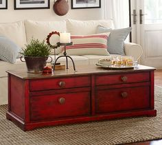sold - farmhouse red coffee table, shabby chic coffee table, solid