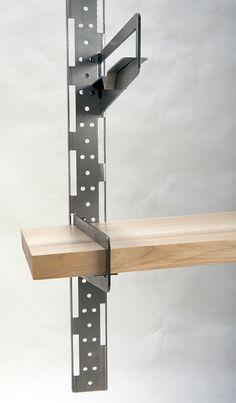 Wall shelving system to loft-style apartments. Metal Sheet Design, Sheet Metal Art, Iron Furniture, Steel Furniture, Furniture Design, Bed Frame Design, Shelf Design, Metal Shelves, Wall Shelves
