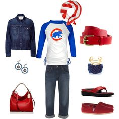 Chicago Cubs. I would definitely wear this minus the flip flops ...