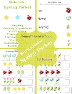 Honest Homeschool: Spring Packet for Kindergarten - FREE