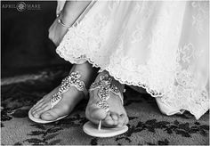 Bride wearing jeweled sandals for her mountain wedding at Mountain Vista Lodge in Silverthorne Colorado