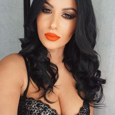 """I am officially over short hair wearing my extensions code """"amrezy"""" for off """"Spicy"""" on the lips All Things Beauty, My Beauty, Beauty Makeup, Hair Makeup, Hair Beauty, Beauty Ideas, Eye Makeup, Orange Lipstick, Long To Short Hair"""