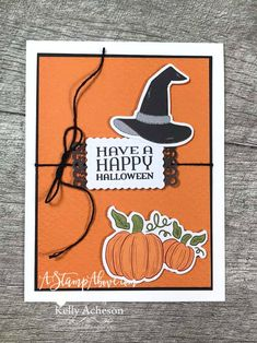 Check out my alternative ideas for the HELLO PUMPKIN kit! VIDEO TUTORIAL - Click for details - ️SHOP ️ - ORDER STAMPIN' UP! PRODUCTS ON-LINE. Purchase the $99 Starter Kit & enjoy a 20% discount! Tons of paper crafting ideas & FREE Online Classes. www.AStampAbove.com Halloween Cards, Halloween Pumpkins, Happy Halloween, Ghost And Ghouls, Stampin Up Paper Pumpkin, Pumpkin Cards, Fall Cards, Card Making Inspiration, Autumn Theme