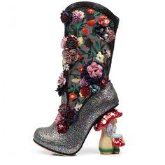 Irregular Choice 'Angelica Pearson', Faerie heel, glitter boot, black