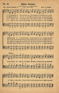 Free Printable - Antique Hymn Book Page -Higher Ground  ~ via KnickofTime.net