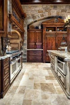 rustic kitchen style, wooden cabinets, stone walls
