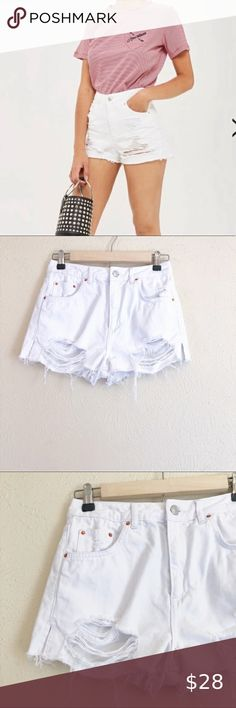 TOPSHOP CHERRY PRINT FRILL TRIM WHITE HIGH WAISTED  SHORTS SIZE 6-16